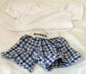 White Tee-Shirt & Blue Plaid Boxer Set